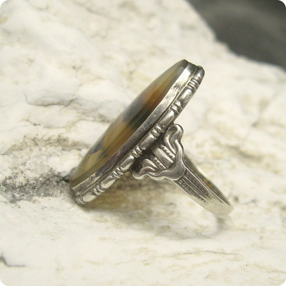 Deco Sterling Ring Moss Agate Uncas R4802