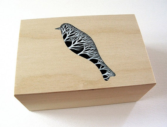 wooden box with a delicate handpainted design . bird and trees . nature inspired art objects by natasha newton