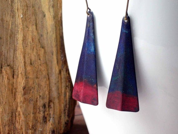 Geometric Rustic Earrings -Tribal Triangle Dangles - Indigo Blue with Crimson Red  - Autumn Dangles - Fall Fashion - Gift Box