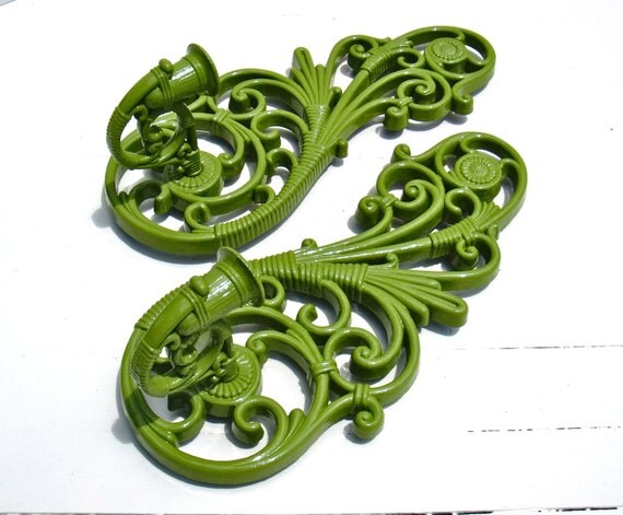 Vintage Upcycled Apple Green Wall Sconces -Pair of Large Candle Sconces by Dart Industries - 1978