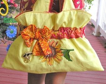 Sandras Sunny Sunflower Bag - A Linen Bag in Bright Yellow