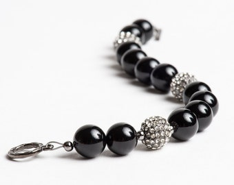 Black Onyx Bracelet with Gunmetal and Pave Crystal Glam Fireballs - Night on the Town