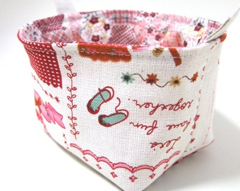 Reversible fabric basket storage bin and organizer - linen pink sewing room and hexagonal quilts