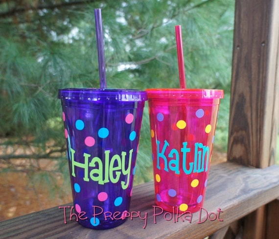Personalized 16oz Tumbler Cup with Lid & Straw COLORS