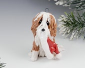 Bearded Collie Fawn Christmas Ornament Santa Hat Porcelain Clearance