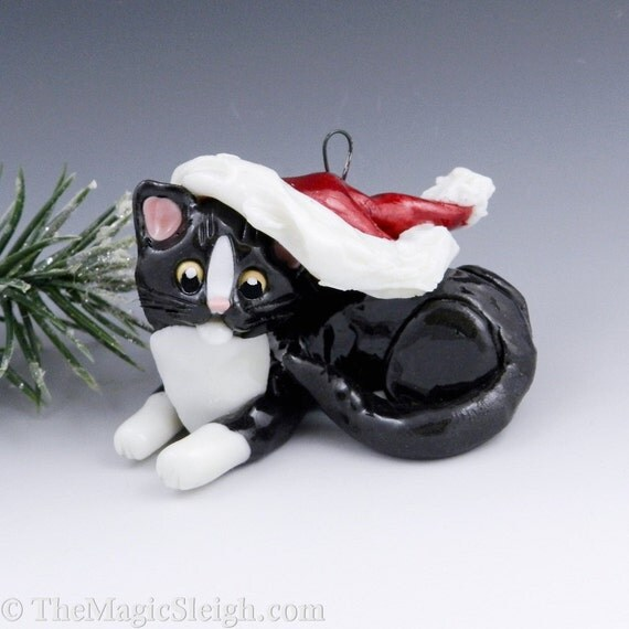 Black and White Cat Ornament with Santa hat Porcelain