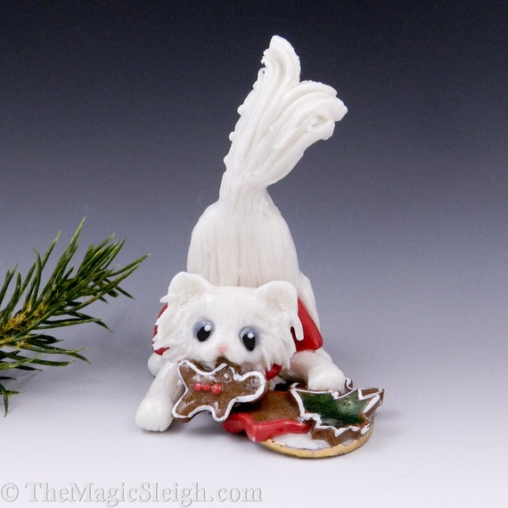 Cat Ornament White Persian Christmas Cookies Porcelain