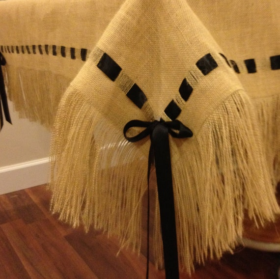 Burlap Tablecloth with Fringe and Ribbon