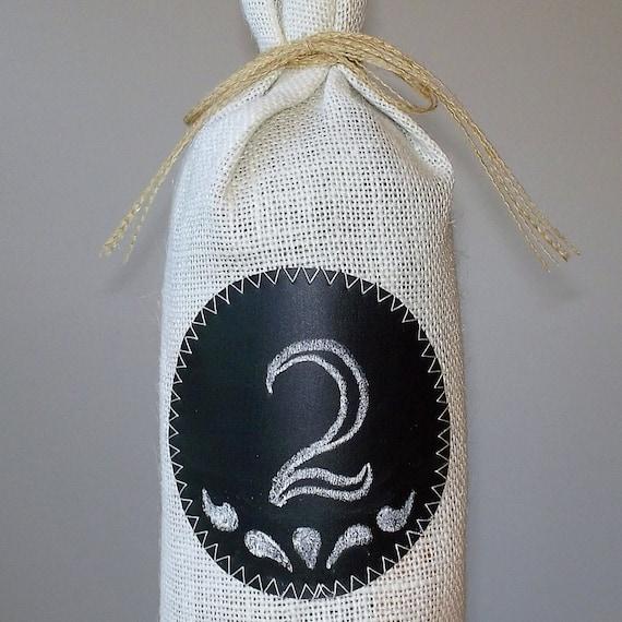 Burlap WIne Bag with Chalkboard fabric Label