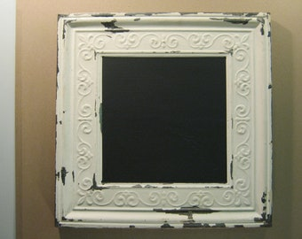 Repurposed Tin Ceiling Black Magnetic Chalk Board 13x13 Shabby (Chic) S759-12