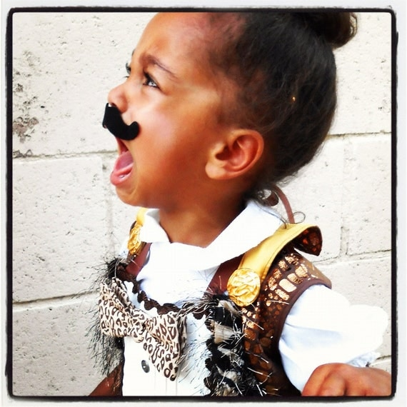 Custom Toddler Vintage Style Lion Tamer Costume size 12M/2T - Vest & Tux Bib - Remnant Fabrics and Trims