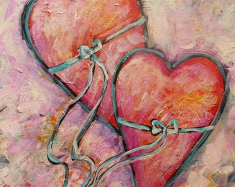 Free Shipping Heart Strings Joining Two Hearts Original Painting 11x14 carolsuzannestudio