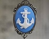 Pirate's Anchor Necklace - Gothic Ivory Navy Nautical Cameo - 40x30mm