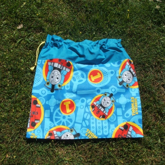 Drawstring bag Thomas Tank Engine blue cotton for library toys sheets storage