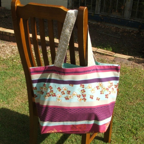 Shopping or tote bag blossoms and maroon aqua stripe spacious strong lined cotton