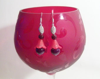 Tulip Flower Earrings Pink Wine  Red