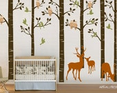 Forest Birch SIX trees WOODLAND Forest Tree 101 inches with Birds, Owls and Deers