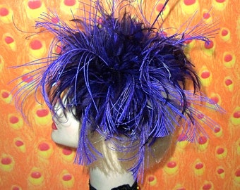 Custom Made Purple Feather Headband by Taissa Lada,Curled Feathers,Flapper Headband,Vintage Inspired Headpiece,Old Hollywood,Gothic,Flapper