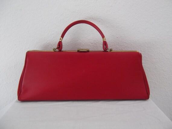 60s handbag - 1960s purse -  red clutch purse