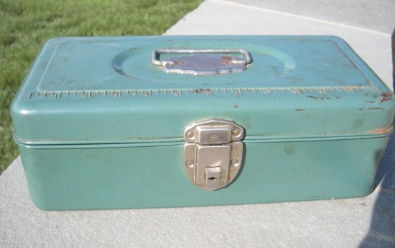 RESERVED for Abbie Vintage Green Union Metal Utility Chest by Union Steel Chest Corporation, Made in USA