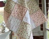 Handmade Baby Rag Quilt Peaches n Cream Shabby Roses & Cupcakes Blanket Travel Throw