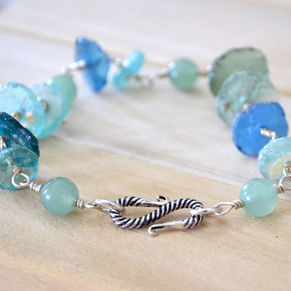 RESERVED Ancient Glass Artifacts Bracelet  Aventurine Sterling Silver - Seaside