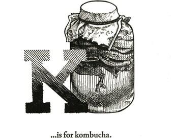 K is for Kombucha - letterpress print