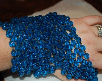 3ft of Fabulous Aqua Blue Czech 8mm Faceted Rosary Chain with Black Links