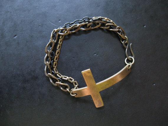 Horizontal Brass Cross Bracelet with Mixed Metal Chain
