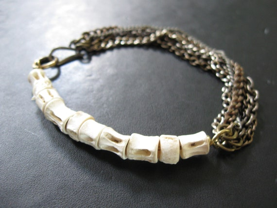 Osteology - Fish Vertebrae and Vintage Chain Tangle Bracelet