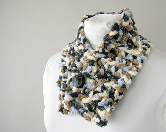 Fleecy Tweed Scarf Rocky Mountain Buttoned Scarflette for Adult Male or Female