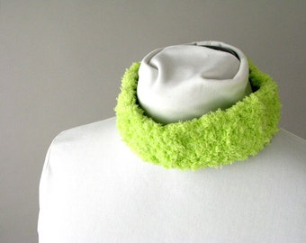 Neon Spring Headband Lime Green Ear Warmers for Teens Tweens Girls - Crochet Fleece Ear Muffs