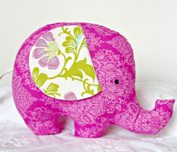 Stuffed Elephant Softie Toy Baby Toddler Gift Plush Animal Fushia Pink Designer Prints