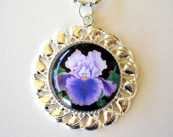 Iris Jewelry Necklace Pendant Lavender and Purple Art Glass Silver Plated Pendant
