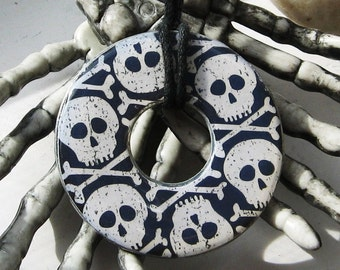 Spooky Gothic Skull Pirate Upcycled Washer Pendant Necklace Halloween Skeleton