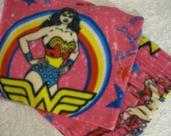 Five Buck Fleece Scarf Blow Out!  * Going Going Soon Gone! * Wonder Woman Winter Fleece Scarf *  Justice League
