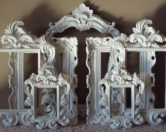 Gorgeous Ornate Picture Frames White or Black or Mixed 7 Open Frames Wall Art French Country Cottage Gallery Frames Victorian Home Decor