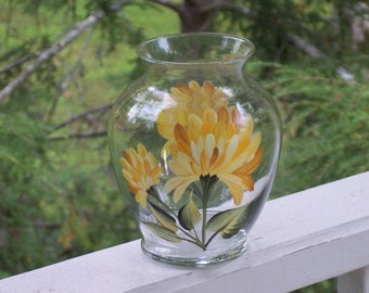 Hand Painted Glass Vase with Yellow Chrysanthemums