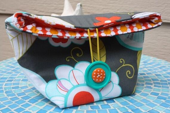 NEW - Cosmetic Bag - Cotton Clutch - Fold Over Clutch - Tweet Birdie Tweet - Michael Miller