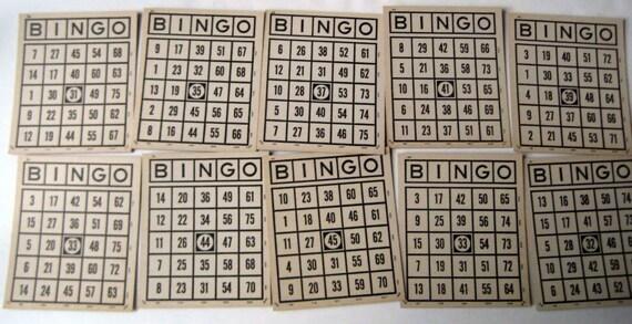 10 Vintage Black and White  Parker Brothers  Bingo Cards