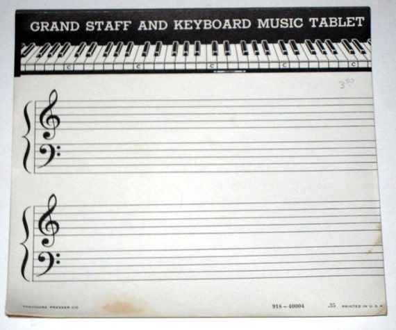 Reserved for fifidog - Vintage Grand Staff and Keyboard Music Tablet