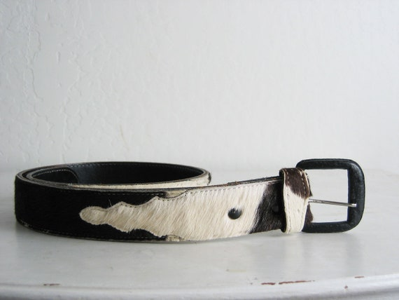 vintage 1970s HANDCRAFTED COW FUR belt