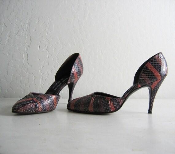 50% OFF SALE / RAINBOW reptile heels by Stuart Weizman, 6.5