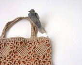 Crochet handbag with peach lining, Norwegian