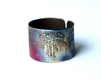 Etched Copper Tree Ring - Adjustable size