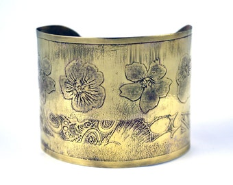Etched Brass Flower Cuff bracelet