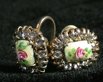 Antique Vintage 1940s 50s Screw Back Earrings.  Rose Guilloche Enamel Cameo Framed by Rhinestones by Vargas.