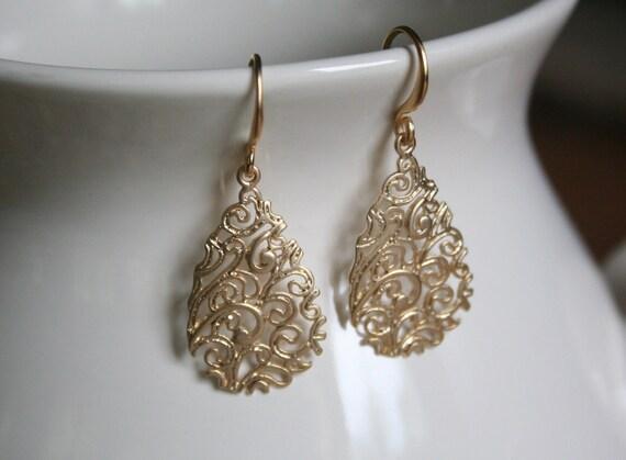 Gold Filigree Teardrop Earrings