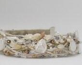 Beaded Fiber Bracelet--Pearl