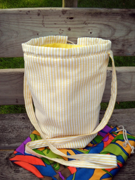 Drop Spindle Spin on the Go Bag, Silk Insert Fiber Bag, Padded Spindle Pouch, Yellow n white seersucker n yellow cotton lining, SHIPS FREE